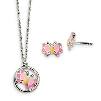 925 Sterling Silber poliert emailliert Gebeiz Schmetterling Engel Flügel Ohrringe und Halskette Set Schmuck Geschenke für Frauen