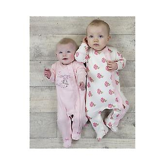 The Essential One Baby Girls Little Bunny Floral Sleepsuits - 2 Pack
