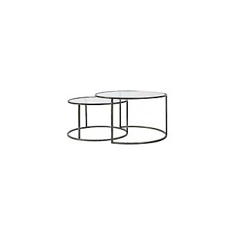 Lekki i żywy zestaw stolików kawowych 2 65x39 i 75x44cm Duarte Glass-Vintage Cyna