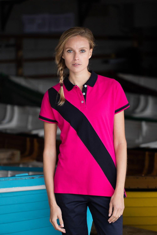 FR213 tag-free Women/'s Diagonal Stripe Piqué Polo Shirt