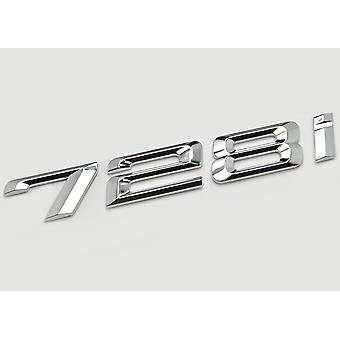 Silver Chrome BMW 728i Car Model Rear Boot Number Letter Sticker Decal Badge Emblem For 7 Series E38 E65 E66E67 E68 F01 F02 F03 F04 G11 G12