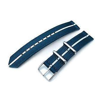 Strapcode fabric watch strap 20mm two piece ww2 g10 nylon, navy blue & white, brushed buckle