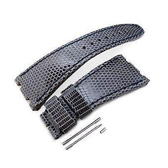 Strapcode lizard pulseira cinza escuro genuíno pulseira de couro lagarto