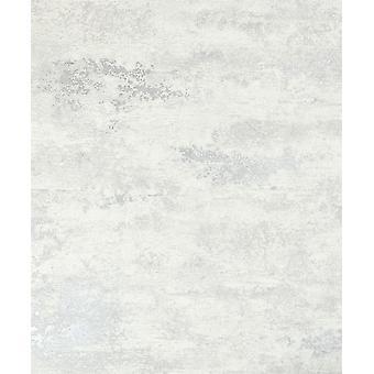 Industrial Concrete Stone Wallpaper Metallic White Silver Textured Vinyl