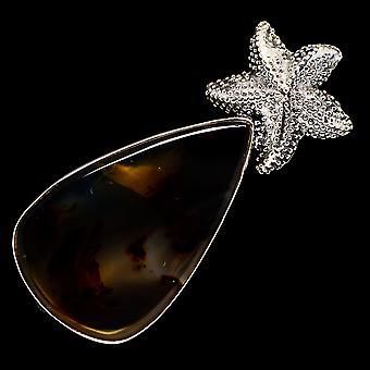 مونتانا Agate ستارفيش قلادة 2 1/4 & (925 الجنيه الاسترليني الفضة) - اليدوية بوهو خمر مجوهرات PD723021