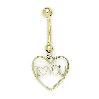 14k Yellow Gold CZ Cubic Zirconia Simulated Diamond 14 Gauge Dangling Love Heart Body Jewelry Belly Ring Measures 33x15m