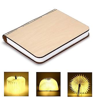 Wooden Foldable LED Nightlight Book Style Desk Lamp Table Lamp USB Rechargeable Decorative /Mood/Night Lights (Warm White)