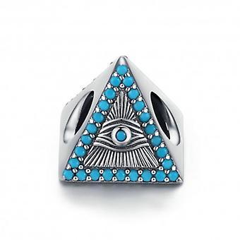 Charm En Argent Triangle Magique Yeux Bleus - 6018