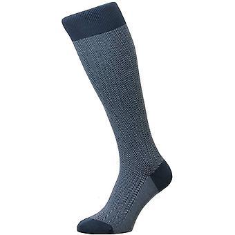 Pantherella Fabian Herringbone Over the Calf Socks - Stahlblau