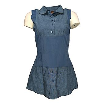 Kathleen Kirkwood Womens Top Dictrac-Ease Chambray Shirttail Blue A311148 PTC