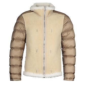 Ten C Stand Up Collar Beige Shearling Jacket Liner