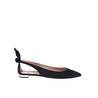 Aquazzura Denflab0sue000 Women's Black Suede Flats