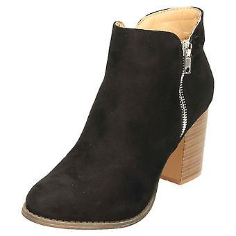 Claudia Ghizzani High Block Heel Ankle Zip Boots Suede Black