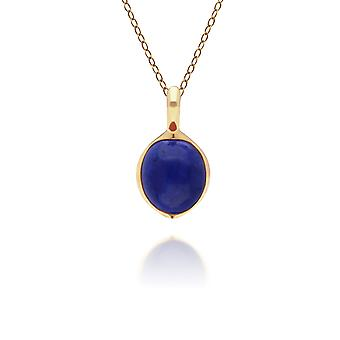 Irregular B Gem Lapis Lazuli Pendant Necklace in Gold Plated Sterling Silver 270P029203925