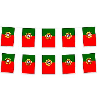 Pack van 3 Portugal Bunting 15m Polyester Fabric Voetbal Sport Country