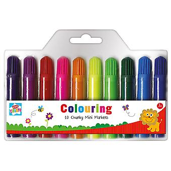 10 Chunky Mini Markers Kids Childrens Colouring Arts and Crafts Set 3+