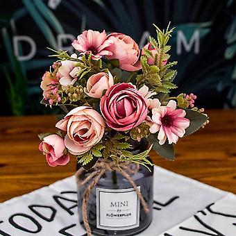 Kunstige silke blomster - Fake Tea Rose Gerbera Daisy Til Bryllup Boligindretning