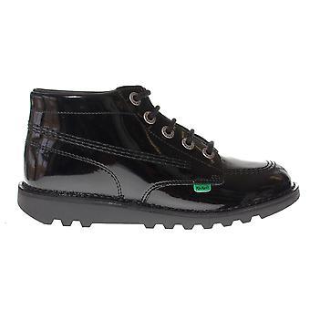 Kickers kick Hi lakleer Kids meisjes school mode schoen schoen zwart