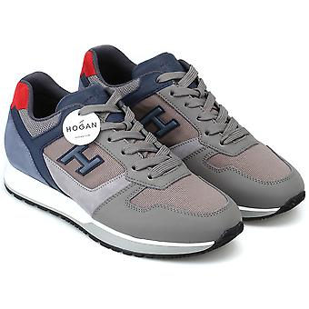 Hogan Men's fashion round toe sneakers shoes in gray and light blue leather