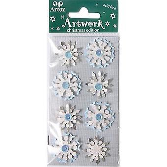 Blue Snowflake Christmas Card Embellishments By Artoz