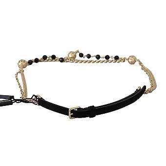 Dolce & Gabbana Black Suede Gold Chain Crystal Studs Waist  Belt BEL60327-M