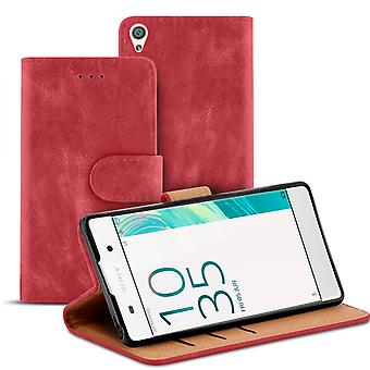 Vintage Book Case with Card Slot for Sony Xperia XA Wallet Stylish TPU Magnetic Lock Red