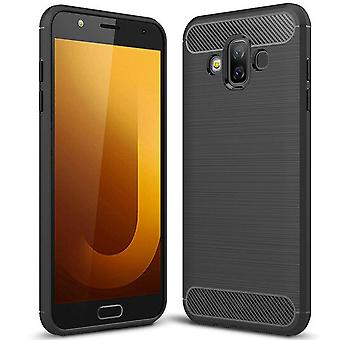 Carbon Fiber Shell for Samsung Galaxy J7 Duo Rubber Phone Protection Shockproof Solid Color