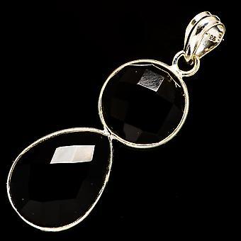 "Pingente ônix preto 2"" (925 Sterling Silver) - Handmade Boho Vintage Jewely PD735734"