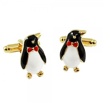 Ties Planet Penguin In A Bow Tie Novelty Cufflinks - Colour Gold