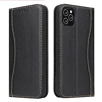 For iPhone 12 Pro Max Case Black Genuine Cowhide Leather Wallet Cover