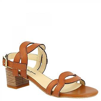 Leonardo Sko Kvinner's håndlagde firkantede hæler sandaler i tan kalv skinn med spenne stropp