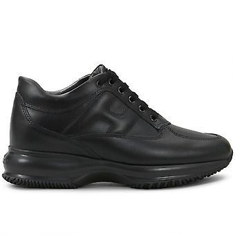 Femme Hogan Interactive Black Leather Sneaker