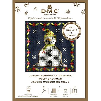 DMC Festive Christmas Mini Counted Cross Stitch Kit - Jolly Snowman
