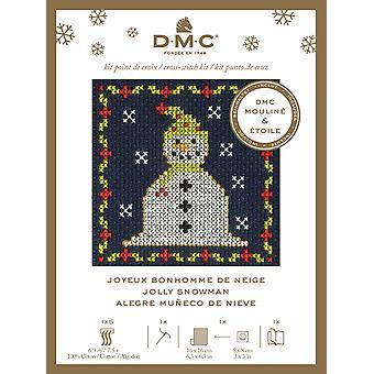 DMC festlig jul mini telles cross stitch kit - jolly snømann