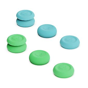 Skull & Co. 6 Thumb Grips for PlayStation 4 and 5 - Anti-Slip Controller Caps PS4 / PS5 - Green and Blue