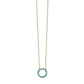 Beginnings Oro Placcato 925 Sterling Argento Signore; Blu Magnesite Open Circle Pendente Collana di Lunghezza 41-46cm