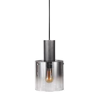 Moderne hangende hanghanger zwart, rokerig 1 licht met glazen tint, E27