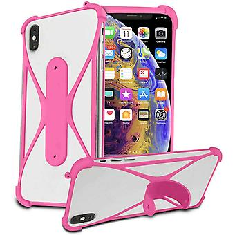 (Pink) Soft Silicone Stretchy Bumper Stand Case X-Shape Design for honor 20 lite