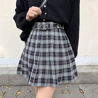 Plaid Pleated Mini Skirts Grunge Winter Autumn Women Gothic Streetwear High