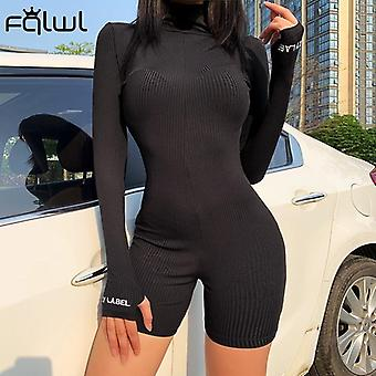 Women Overalls Long Sleeve Skinny Rompers Sexy Bodycon Jumpsuit