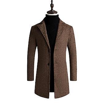 Men Winter Warm Clothes Wool Outwear Long Plaid Blends Coat