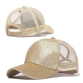 قبعات البيسبول ذيل الحصان والترتر لامعة فوضوي بون سنابباك قبعة / قبعات الشمس