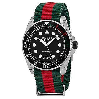 Gucci YA136209 ダイブ ブラック ダイヤル グリーンとレッド ナイロン メン&アポス;s ウォッチ