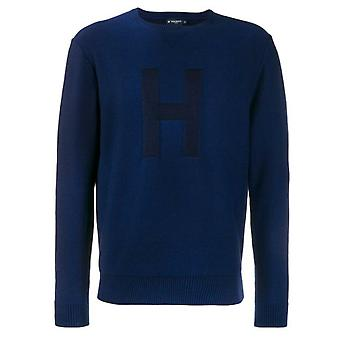 Hackett H Plaited Mens Sweater Casual Blue Jumper HM702270 5DO