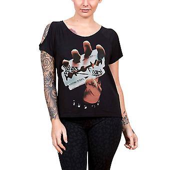 Judas Priest Womens T Shirt Black British Steel Logo Official Cut Out shoulders