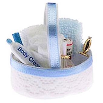 Panenky Dům Modrá Toaletní Kosmetika Koš 1:12 Koupelna Příslušenství