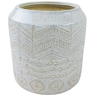 White Herringbone Textured Stoneware Planter 20cm