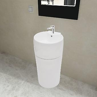 Stand washbasin with tap/overflow hole ceramic white round