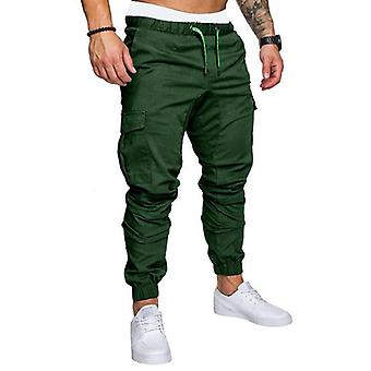 Men Casual Joggers Pants Solid Cargo Sweatpants Multi-pocket Trousers