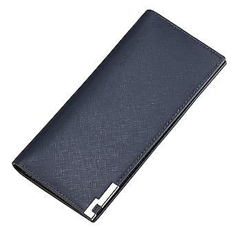 Men's long multi-card position cross grain metal wallet card case